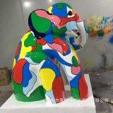 玻璃鋼大象定製雕塑 玻璃鋼彩繪動物雕塑 園林景觀