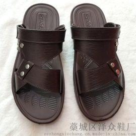2018夏新男士时尚休闲防滑耐磨两用沙滩皮凉鞋