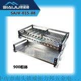 思爱居 优质厨房橱柜拉篮 不锈钢阻尼碗调味篮厨房厨柜碗碟架