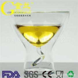出口定制创意双层酒杯隔热隔冷调酒杯三角杯鸡尾酒杯