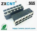 ZXCNT品牌RJ45双层2X6百兆带POE供电连接器,ZXRJ-1269-55TNL