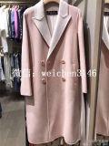 2017秋冬新款欧美  女装翻领撞色藕粉色双面羊绒大衣外套