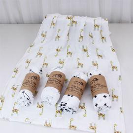 双层竹纤维毯子 宝宝纱布襁褓巾 婴儿竹纤维包巾