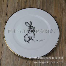 厂家直销骨瓷餐具10.5寸平盘描金边西餐厅牛排盘意面盘可定制logo