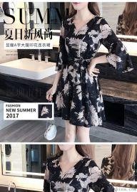 外贸款2019夏季新款韩版碎花连衣裙女中长款女式半袖裙子女装