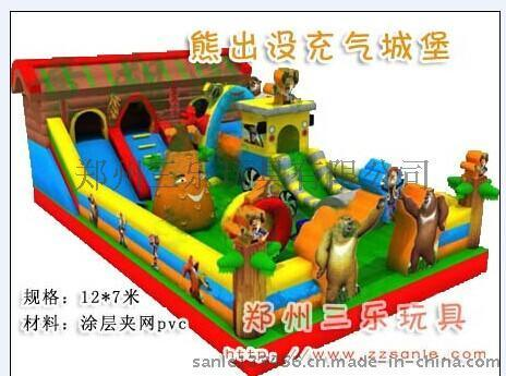 12*7米熊出沒充氣滑梯  山東濟寧充氣蹦牀生產廠家