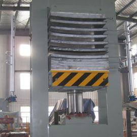 青岛国森牌120T多层实木板弯曲热压机设备