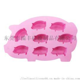DIY创意8孔猪硅胶巧克力模具 定制硅胶冰格