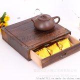 實木普洱茶餅禮盒單層抽屜式茶葉木盒