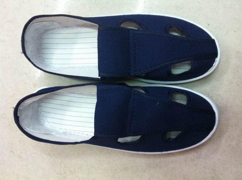 厂家定制防静电鞋pvc四孔鞋 帆布四孔鞋防尘工作鞋