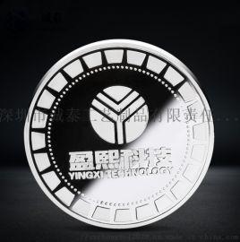 数码科技一周年纪念币锌合金定做