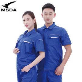 跨境短袖工作服薄棉质防静电耐磨工服装出口制服外套