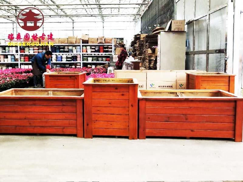 广元实木花箱厂,景观公园花箱设计报价制作厂家