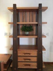 牛仔部落  实木客厅高柜红胡桃别墅定制置物架