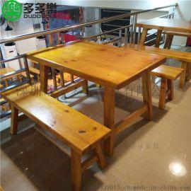 多多乐餐饮家具厂家定制木屋烧烤实木餐桌 中式烧烤店四人座桌椅