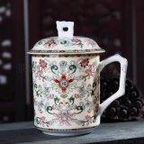 陶瓷马克杯高档茶杯会议水亚光白瓷釉茶杯带盖