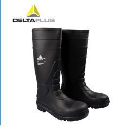 代尔塔 PVC防水防滑雨靴 防砸防穿刺  黑色