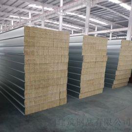 岩棉彩钢板 岩棉净化夹芯板 机制防火彩钢夹芯板