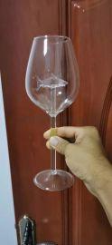 高脚杯鲨鱼玻璃酒杯手工玻璃杯子