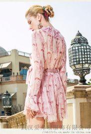 莎之彩2020新款宽松苎麻拼接裙子市场服装