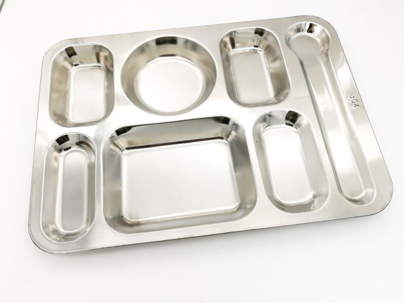 不鏽鋼304#大七格餐盤 食堂飯菜分格盤