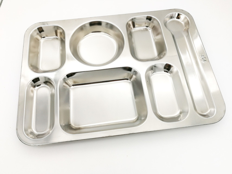 不锈钢304#大七格餐盘 食堂饭菜分格盘