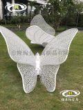 公園草地不鏽鋼蝴蝶雕塑 白色金屬蝴蝶擺件