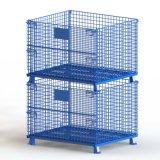 倉儲籠 摺疊式半開門可堆疊蝴蝶籠 藍色倉庫籠