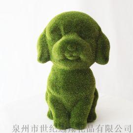 厂家直销圣诞礼品树脂植绒绿色小狗摆件