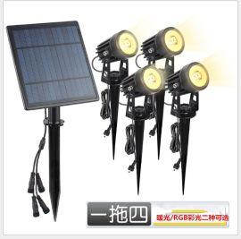 一拖四太阳能插地灯光感应太阳能投射灯花