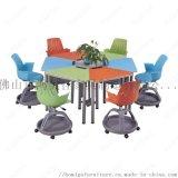 培訓專用塑鋼木組合桌椅 廣東鴻美佳組合桌椅定製
