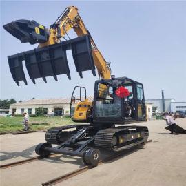 铁道属具夹轨机 枕木机 直销公铁两用挖掘机改装