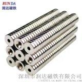 圆形打孔磁铁15*3mm/M4螺丝沉孔钕铁硼强磁