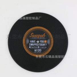 复古唱片杯垫 pvc软胶杯垫 硅胶隔热垫
