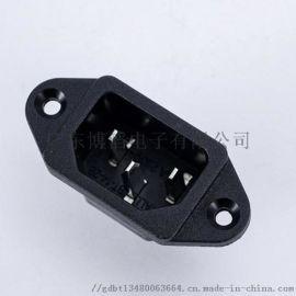 工厂|C14电源插座BT-14-2B 锁式品字插座