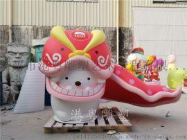 民间艺术新年吉祥物玻璃钢大型舞狮造型雕塑美陈