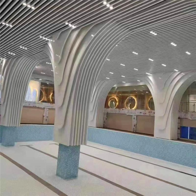 香港餐廳弧形鋁方通吊頂 仿木紋餐廳造型吊頂鋁方通