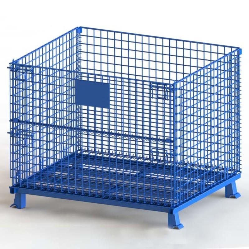 仓储笼 折叠式半开门可堆叠蝴蝶笼 蓝色仓库笼