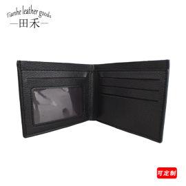 田禾生产欧美流行男士皮革钱包短款手工荔枝纹商务钱包