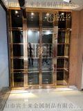 河北拉絲不鏽鋼酒架西餐廳玫瑰金不鏽鋼酒架定製廠家