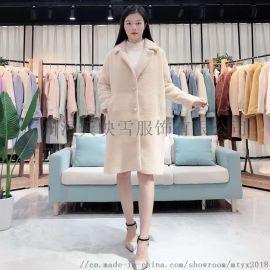 艾斯19年冬季金貂绒大衣 品牌折扣女装