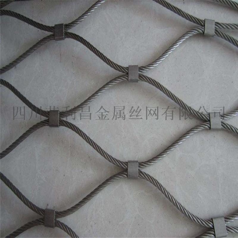 成都鳥籠舍頂網,動物園鳥舍防護網,不鏽鋼絲繩卡扣網