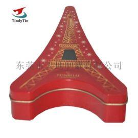 巴黎铁塔铁盒定制 马口铁异形铁盒 巧克力高档包装盒