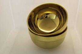 商务礼品赠品镀金色餐具双层隔热304不锈钢碗直销