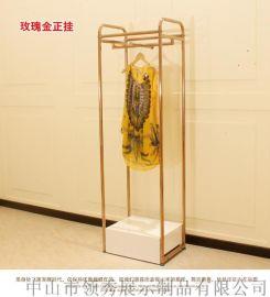 電鍍香檳金女裝展示架_電鍍女裝展示架落地