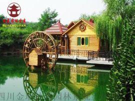 成都实木水车厂,景观水车定制厂家