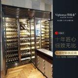 不鏽鋼恆溫酒櫃 拉絲玫瑰金紅酒櫃 酒窖設計酒架