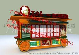 惠州特色小吃车,移动手推车,木制水果屋