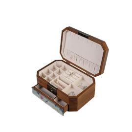 玻璃彩色印花定制批发胡桃木带指纹密码锁首饰盒