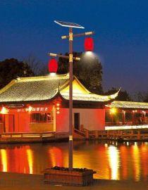 仿古中式太阳能庭院灯户外3米双头灯笼LED路灯
